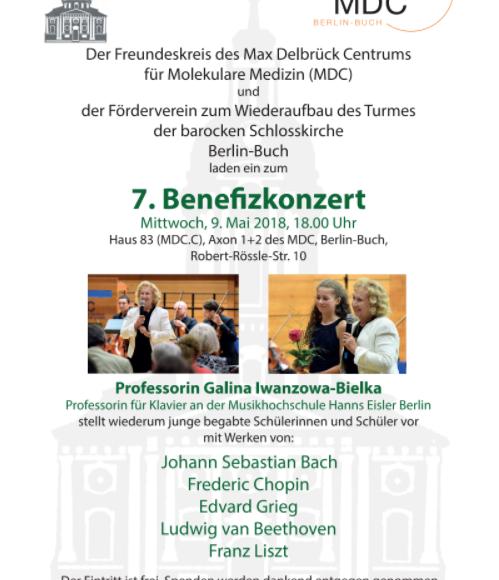 7. Benefizkonzert  Der Freundeskreis des Max Delbrück Centrumsfür Molekulare Medizin (MDC)  undder Förderverein zum Wiederaufbau des Turmesder barocken SchlosskircheBerlin-Buch